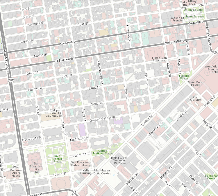 Map shot of the Tenderloin and Soma area