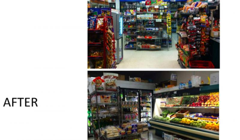 Before of a store display with snacks and an after photo with produce
