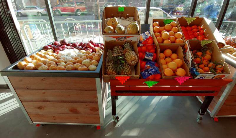 Dalda's Community Market produce racks 2020