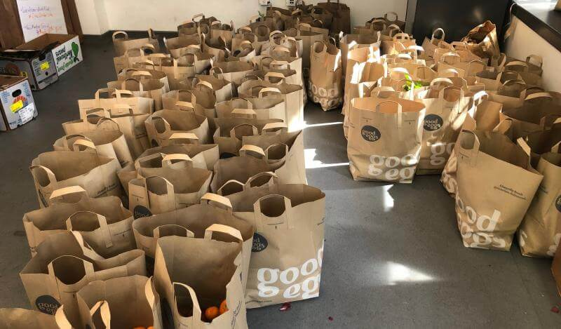 A room full of grocery bags