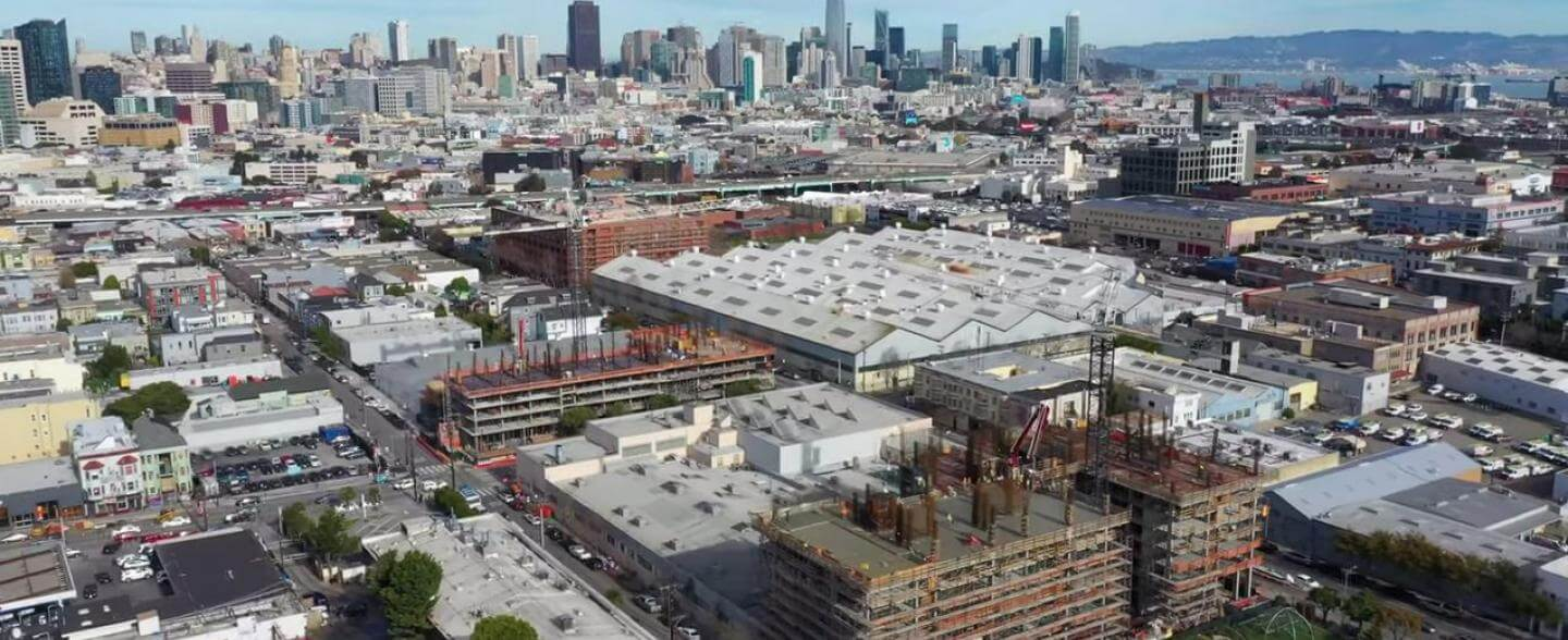 Aerial over the Mission with construction happening