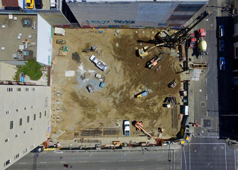 Bird's eye view of the 222 Taylor construction site