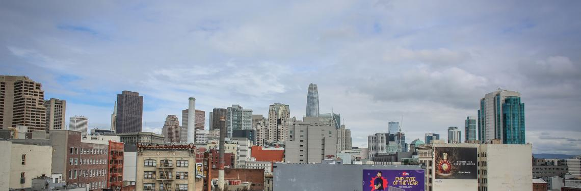 View of downtown San Francisco from the rooftop of a building